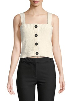 Derek Lam Cropped Knit Top w/ Buttons