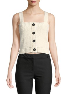 Derek Lam 10 Crosby Cropped Knit Top w/ Buttons