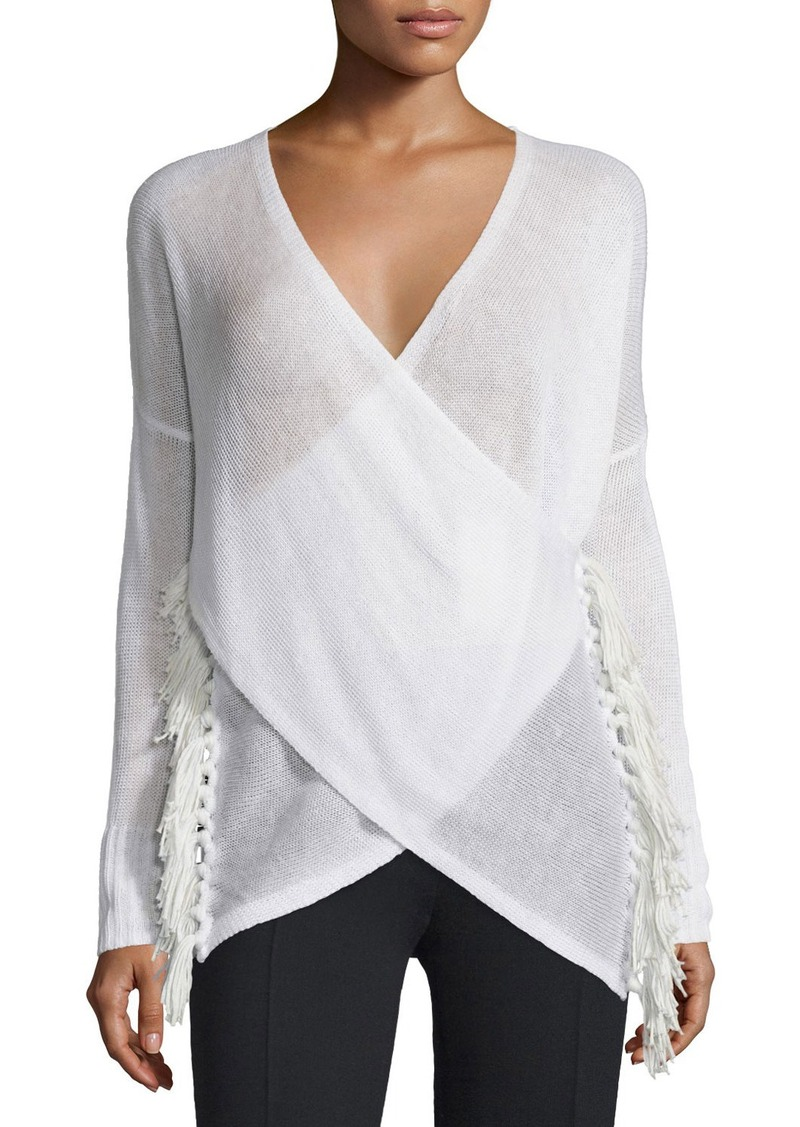 Derek Lam 10 Crosby Cross-Front Tassel Sweater