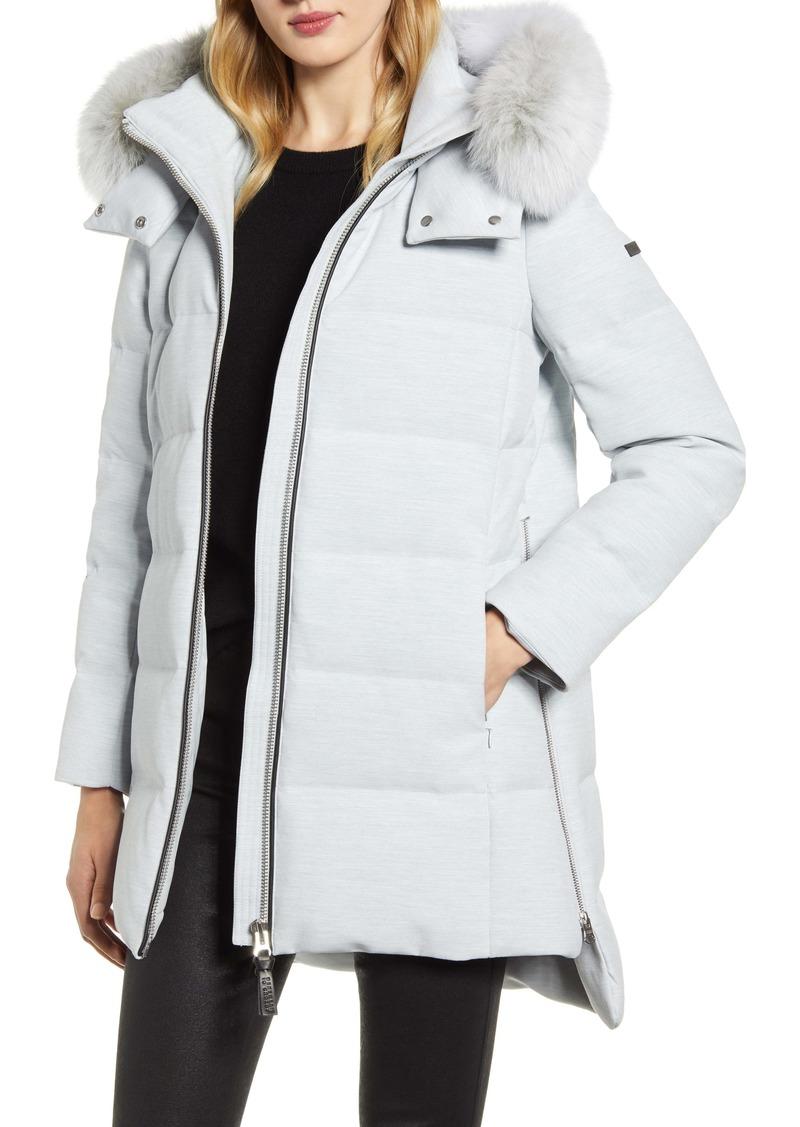 Derek Lam 10 Crosby Down Hooded Jacket with Genuine Fox Fur Trim