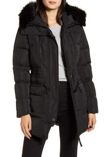 Derek Lam 10 Crosby Down Snorkel Hood Jacket with Genuine Fox Fur Trim