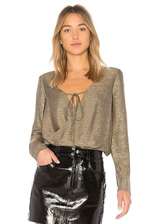 DEREK LAM 10 CROSBY Drape Front Blouse in Metallic Gold. - size 0 (also in 2,4,6)