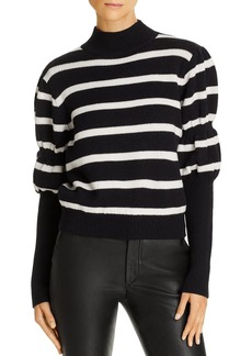 Derek Lam 10 Crosby Elani Puff-Sleeve Striped Wool Sweater