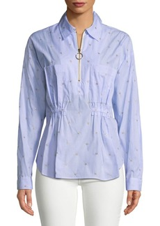 Derek Lam Embellished Pinstripe Collared Shirt