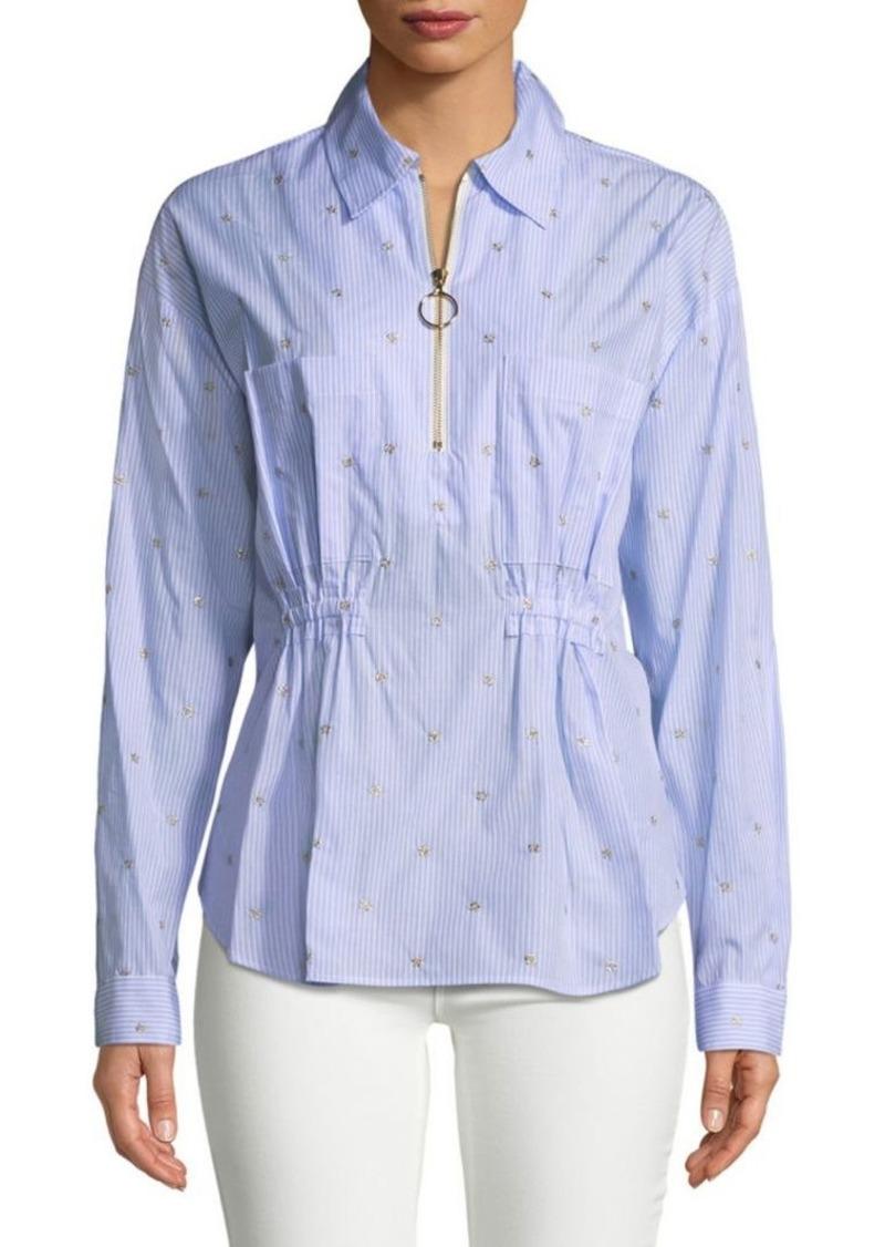 Derek Lam Embellished Pinstripe Collared Shirt