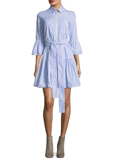 Derek Lam 10 Crosby Embroidered Bell-Sleeve Striped Poplin Dress