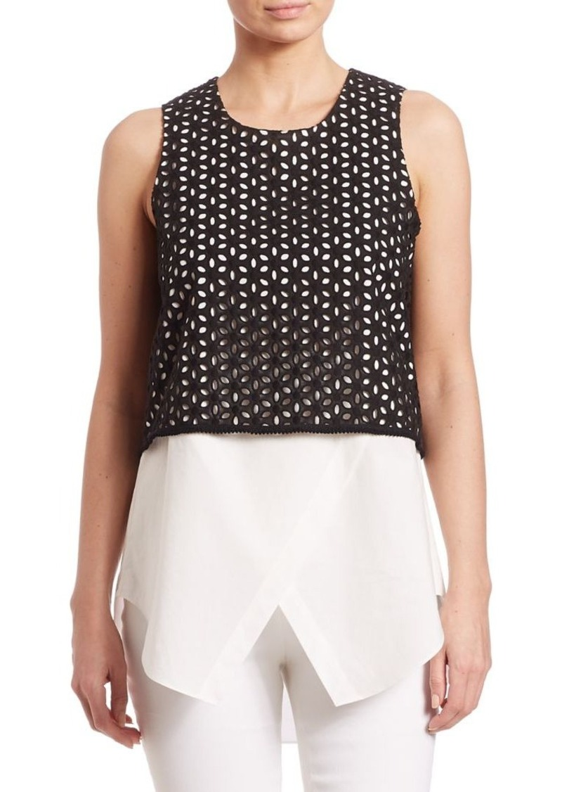 Derek Lam 10 Crosby Embroidered Two-in-One Tank Top