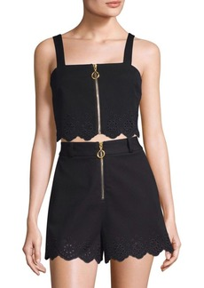 Derek Lam Eyelet Trim Crop Top