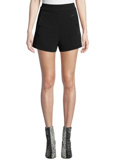 Derek Lam 10 Crosby Flared Crepe Button-Pocket Shorts