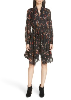 Derek Lam 10 Crosby Floral Handkerchief Hem Silk Dress