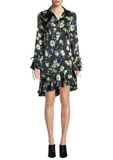 Derek Lam 10 Crosby Floral-Print Silk Asymmetric Ruffle Shirtdress