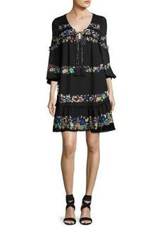 Derek Lam 10 Crosby Floral-Stripe Silk Mini Dress