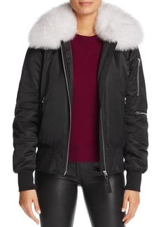 Derek Lam 10 Crosby Fox Fur Collar Ruched Satin Bomber Jacket