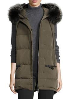 Derek Lam 10 Crosby Fur-Trimmed Hooded Puffer Vest