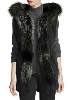 Derek Lam 10 Crosby Fur-Trimmed Hooded Vest