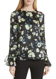 Derek Lam 10 Crosby Garden Floral Silk Ruffle Sleeve Blouse