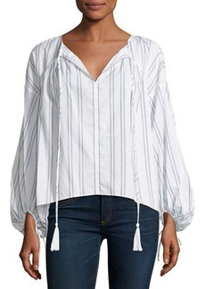 Derek Lam 10 Crosby Gathered-Cuff Striped Blouse