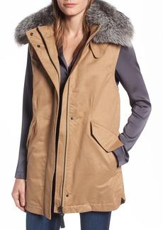 Derek Lam 10 Crosby Genuine Fox Fur Trim Long Vest