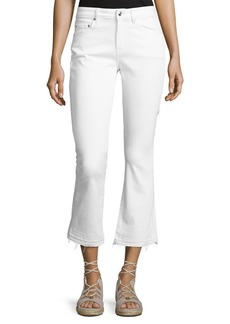 Derek Lam 10 Crosby Gia Mid-Rise Cropped Flare Jeans with Released Hem  White