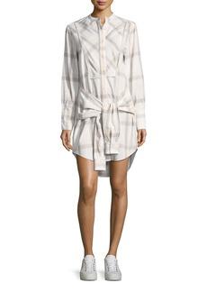 Derek Lam 10 Crosby Grid-Print Collarless Tie-Waist Shirtdress