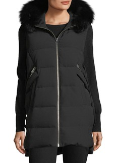 Derek Lam 10 Crosby Hooded Puffer Vest w/ Fox Fur Trim