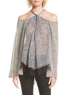 Derek Lam 10 Crosby Lace Hem Cold Shoulder Halter Blouse