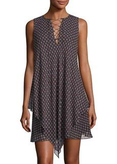 Derek Lam 10 Crosby Layered Handkerchief-Hem Lace-Up Dress