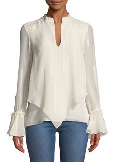 Derek Lam 10 Crosby Layered Silk Bell-Sleeve Blouse