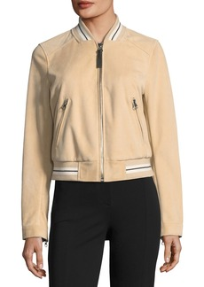 Derek Lam Leather Suede Bomber Jacket w/ Striped Rib