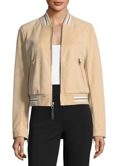 Derek Lam 10 Crosby Leather Suede Bomber Jacket w/ Striped Rib