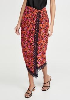 Derek Lam 10 Crosby Liona Lace Trimmed Wrap Skirt