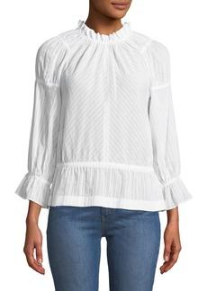 Derek Lam 10 Crosby Long Bell-Sleeve Striped Cotton Blouse