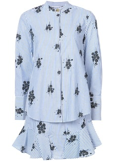 Derek Lam 10 Crosby Long Sleeve 2-In-1 Shirtdress With Ruffle Skirt -