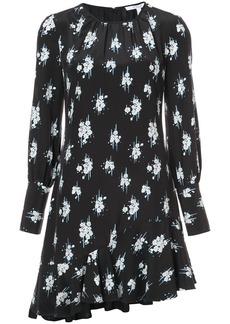 Derek Lam 10 Crosby Long Sleeve Asymmetrical Ruffle Hem Dress - Black