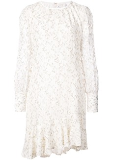Derek Lam 10 Crosby Long Sleeve Asymmetrical Ruffle Hem Dress - White