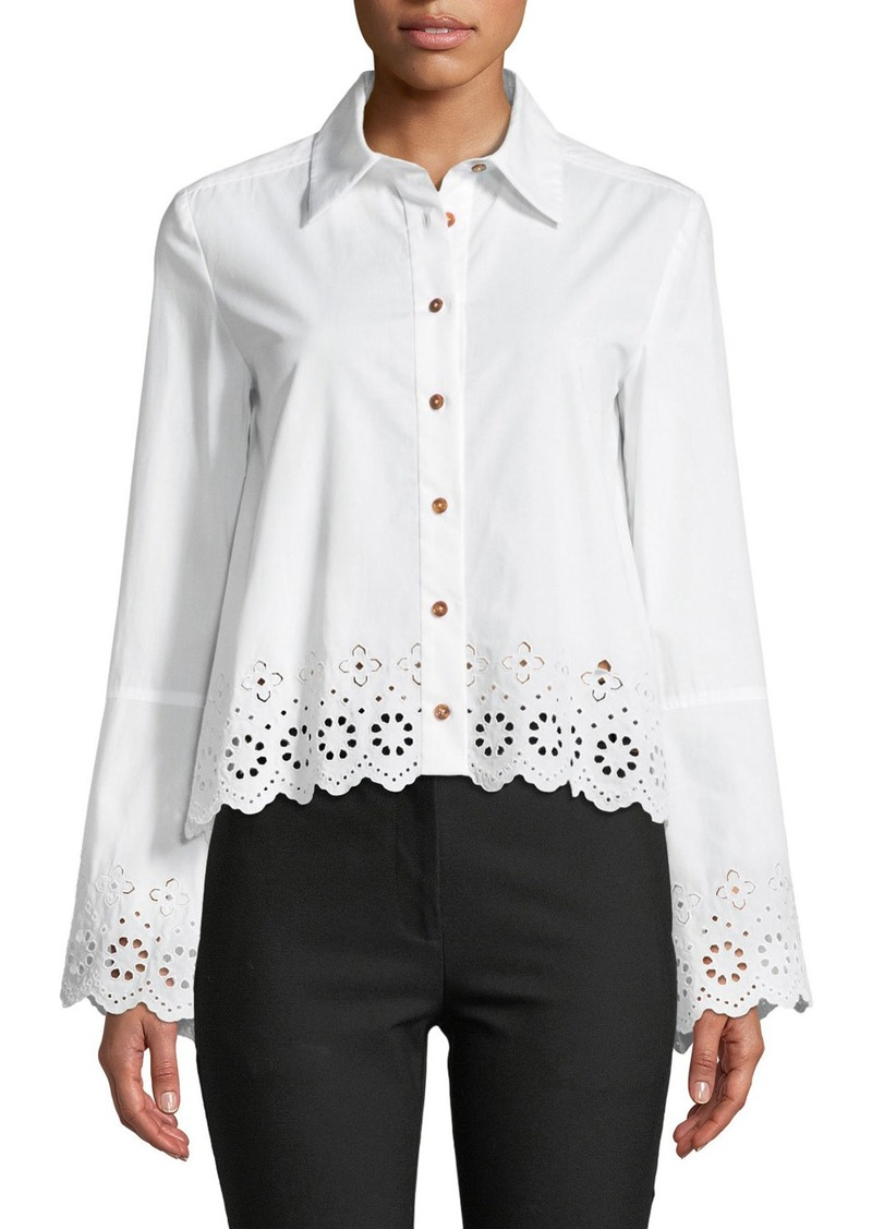 6eb7c3061 10 Crosby Long-Sleeve Button-Down Shirt with Eyelet Embroidery. Derek Lam