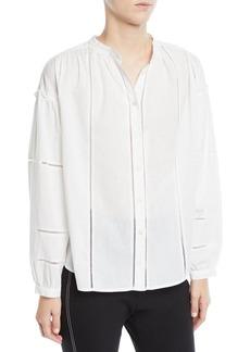 Derek Lam 10 Crosby Long-Sleeve Button-Front Cotton Blouse w/ Lace Insets