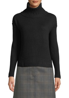 Derek Lam 10 Crosby Long-Sleeve Cashmere Turtleneck Sweater w/ Rib Detail