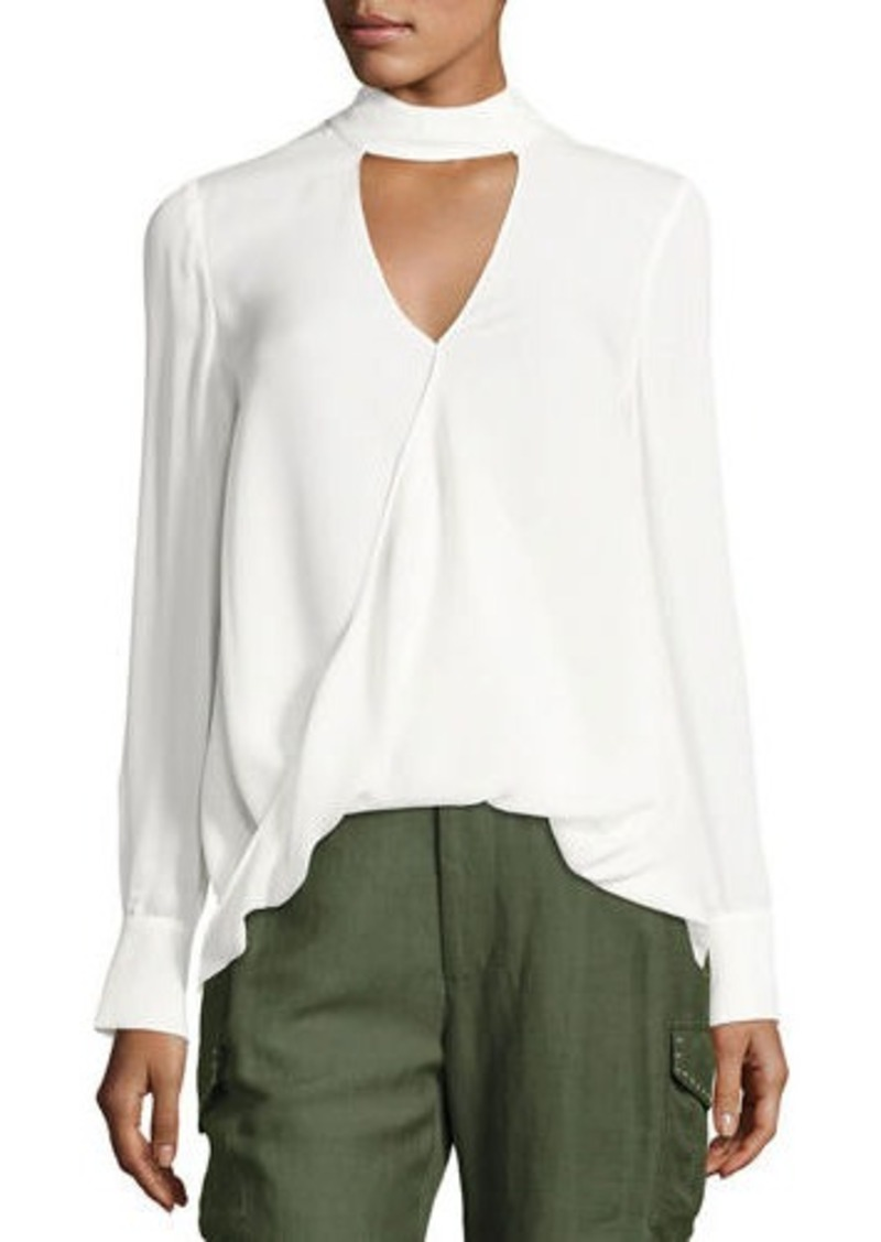 73e65aa7c4b1b5 Derek Lam Derek Lam 10 Crosby Long-Sleeve Draped Silk Charmeuse ...