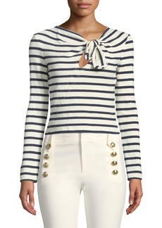Derek Lam 10 Crosby Long-Sleeve Knotted Striped Crop Top