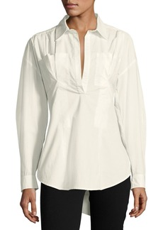 Derek Lam 10 Crosby Long-Sleeve Lace-Up Back Poplin Shirt