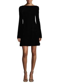 Derek Lam 10 Crosby Long-Sleeve Lace-Up Back Velvet Dress