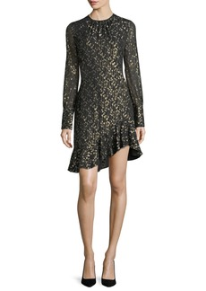 Derek Lam 10 Crosby Long-Sleeve Metallic Ruffle-Hem Short Dress