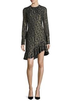 Derek Lam 10 Crosby Long-Sleeve Metallic Ruffle-Hem Short Dress