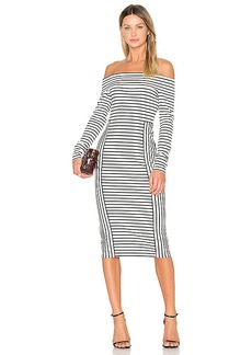 DEREK LAM 10 CROSBY Long Sleeve Off The Shoulder Midi Dress in Black & White. - size M (also in S,XS)
