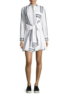 Derek Lam 10 Crosby Long-Sleeve Poplin Tie-Waist Shirtdress