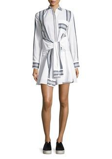 Derek Lam 10 Crosby Long-Sleeve Poplin Tie-Waist Shirtdress