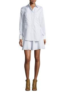 Derek Lam 10 Crosby Long-Sleeve Striped Ruffle Shirtdress