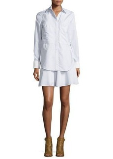 Derek Lam 10 Crosby Long-Sleeve Striped Ruffle Shirtdress