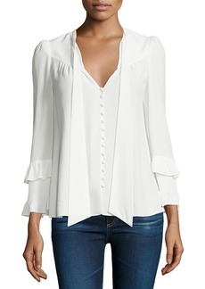 Derek Lam 10 Crosby Long-Sleeve Tie-Neck Blouse